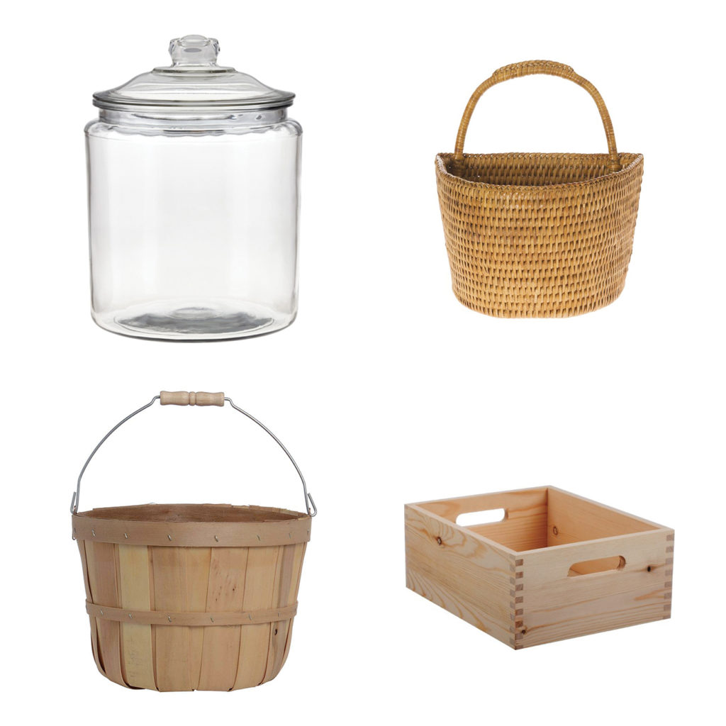 Craft and Hardware Containers, Wood Crate, Bushel Basket, Wicker Wall Caddies, Glass Jars