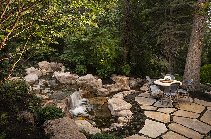 Holladay landscape, Patio, Landscape design, Water feature, Patio table, Patio chairs