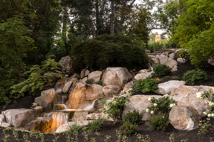 Water feature, Mature trees, Holladay landscape