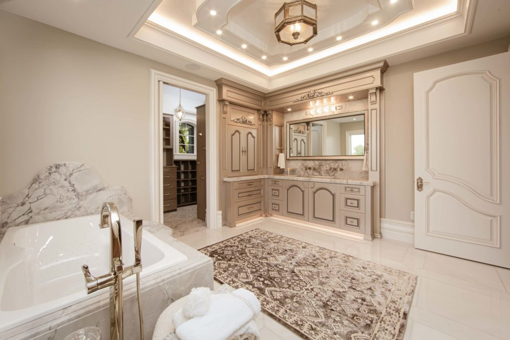 Utah Valley Parade of Homes, Quiet Eloquence, Brinkerhoff Custom Construction, Custom cabinetry, Rug, Bathtub, Granite