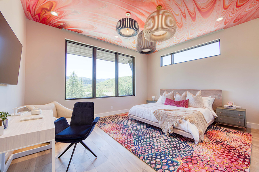 Bedroom, Red color palette, Rainbow color palette, Painted ceilings, Jaffa group