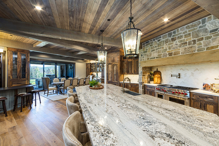 2020 Park City Showcase of Homes, Kitchen, Dining room, Tekton Builders, Wood ceilings