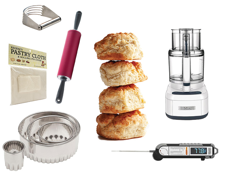 Biscuits, Pastry cloth, Pastry blender Food processor, Round cutters, Food thermometer