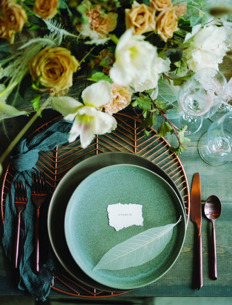Place cards, Michelle Leo Events, Aqua and gray plate