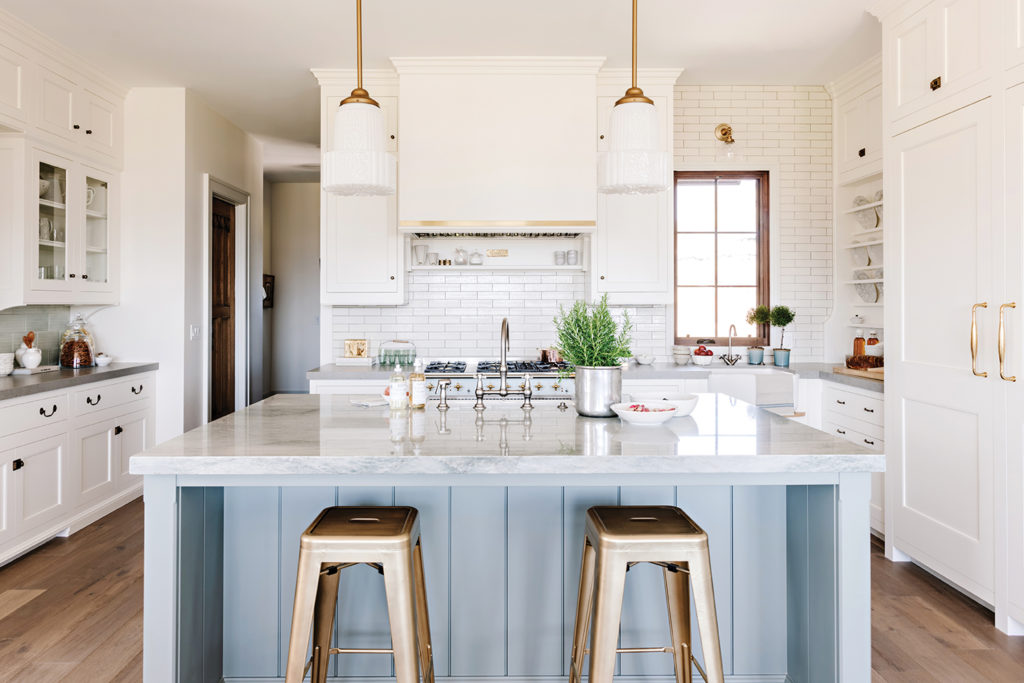 Heber Valley home, Kitchen, Duck egg blue, Duck egg green, Taupe, Brass-trimmed range hood, Quartzite island, Tiled backwall, Cabinetry, Pendant lights, Christopher Scott Cabinetry & Design, Anthony's Fine Art and Antiques