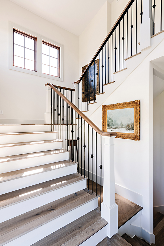 Heber Valley home, White wall, European staircase, Art gallery, Stairwell, Landing