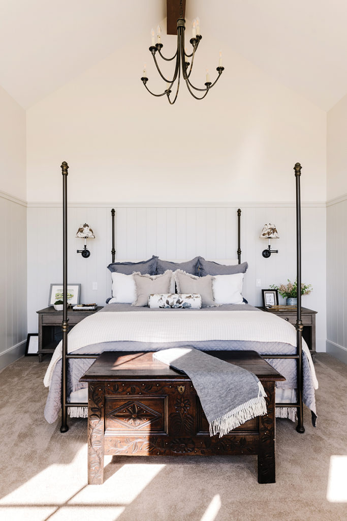 Heber Valley home, Four-poster bed, Wainscot, Master bedroom, Vaulted ceiling