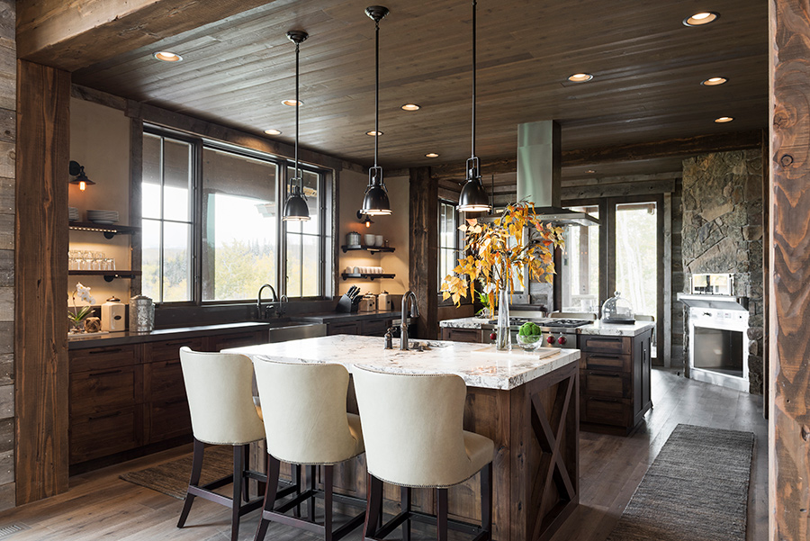 LMK Interior Design, Ranch house, Knotted walnut, Gesso wall