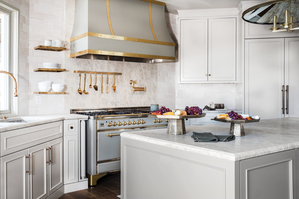 Open shelves, Custom hood, Glass and brass, Cabinetry, Kitchen, Anne-Marie Barton
