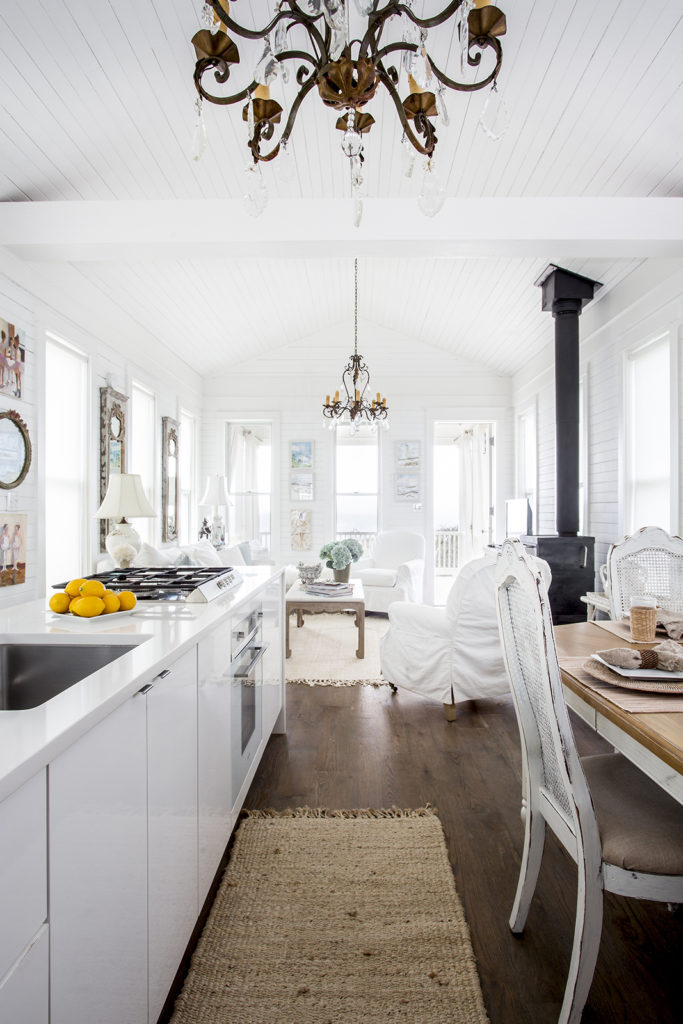 galley kitchen, white-on-white beach cottage, natural rugs