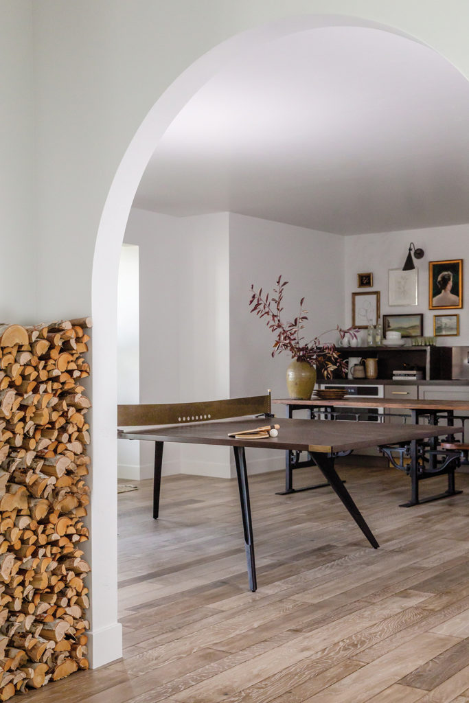 Brad and Hailey Devine, Ping pong table, Game room, Floor-to-ceiling niche, Stacked firewood