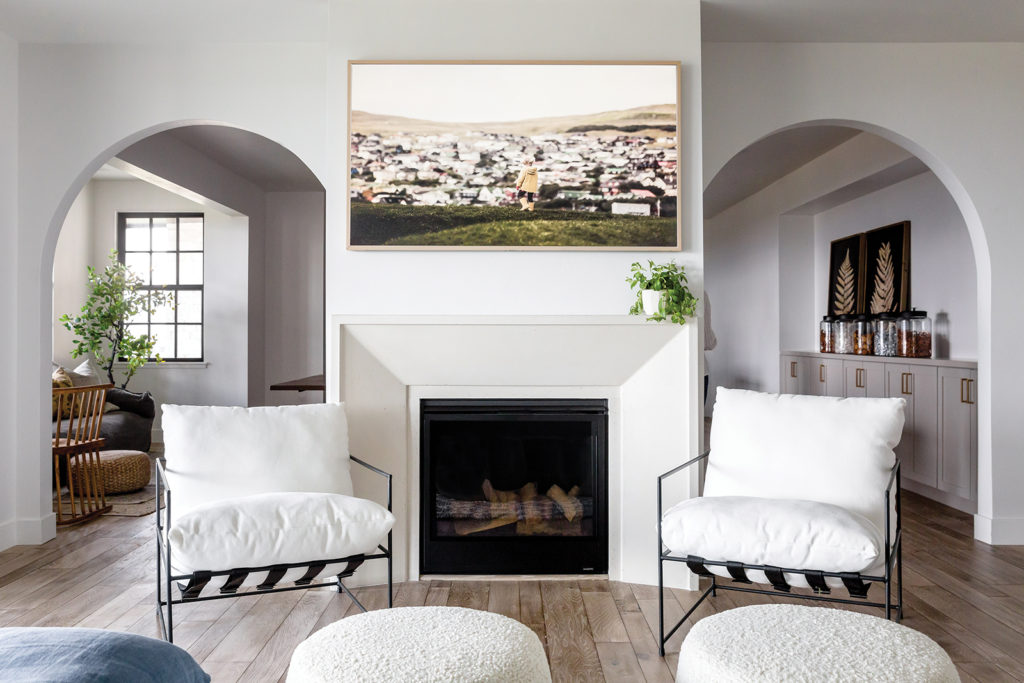 Fireplace, Plaster molding, Textured poofs