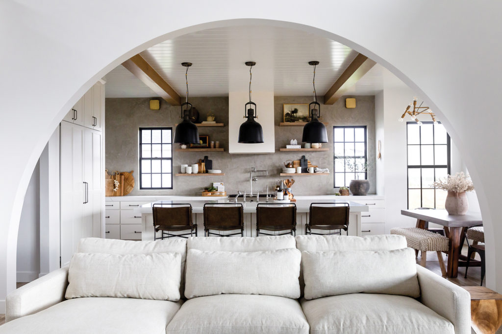 Brad and Hailey Devine, Arch, Kitchen, Family room, White beadboard, Wood beams, Norwegian detailing