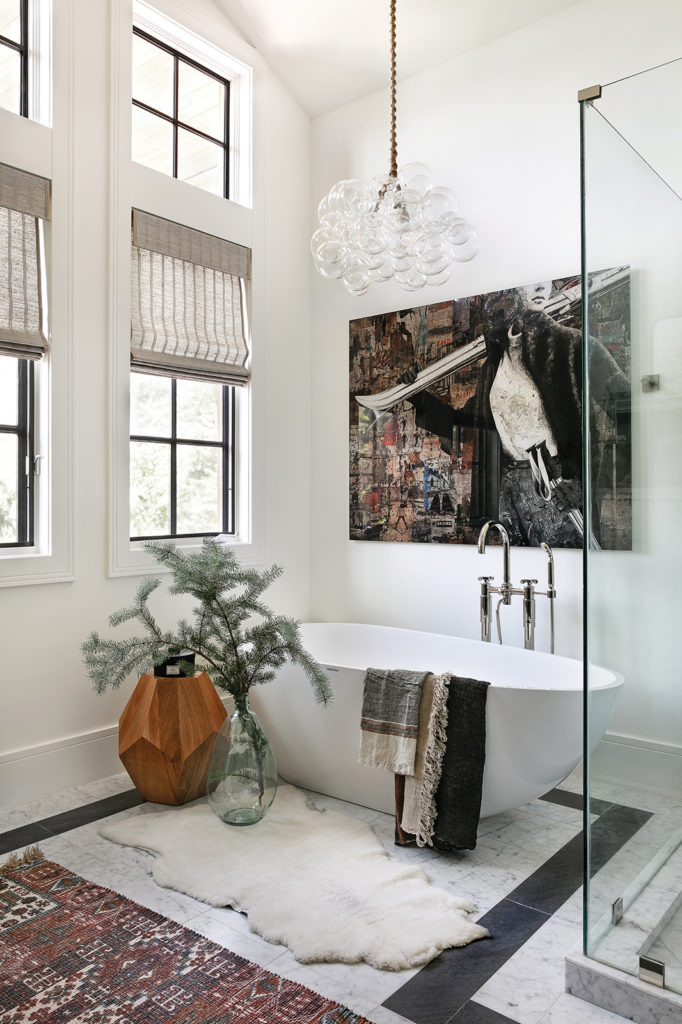 J Go Gallery, Canvas, Freestanding tub, Bubble chandelier, Rugs, Organic accents, Master bathroom