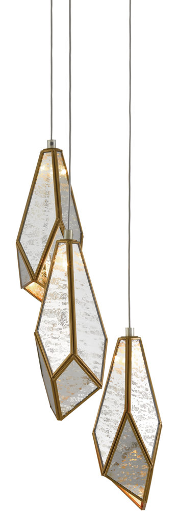 Fractured forms, Glace 3-Light Multi-Drop Pendant