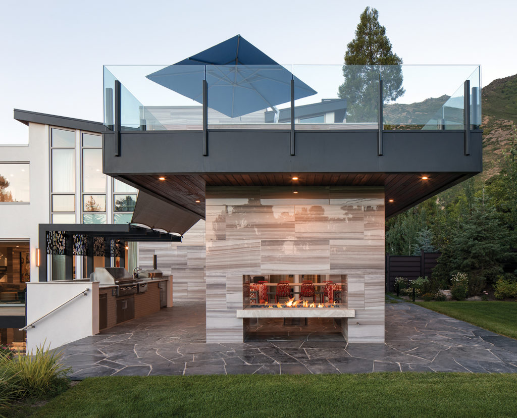 two-sided fireplace, outdoor kitchen, outdoor lounge, upstairs deck
