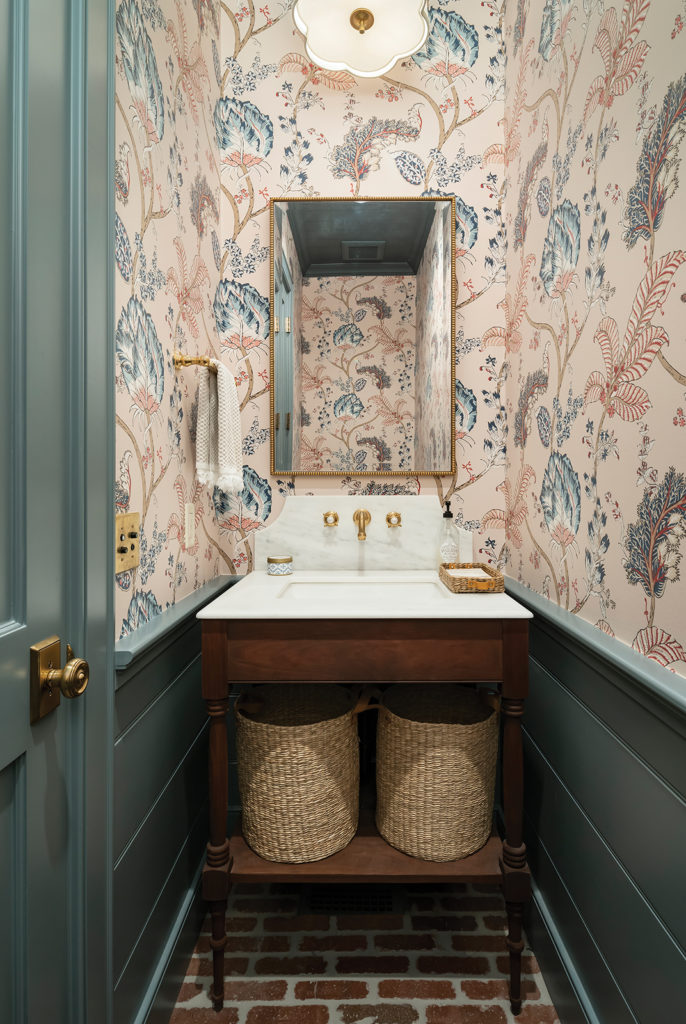 powder room, Thibaut wallpaper, brick floors, marble countertop, hand-made washstand by Benjamin Blackwelder Cabinetry, Rohl faucet, Visual Comfort, woven basket storage