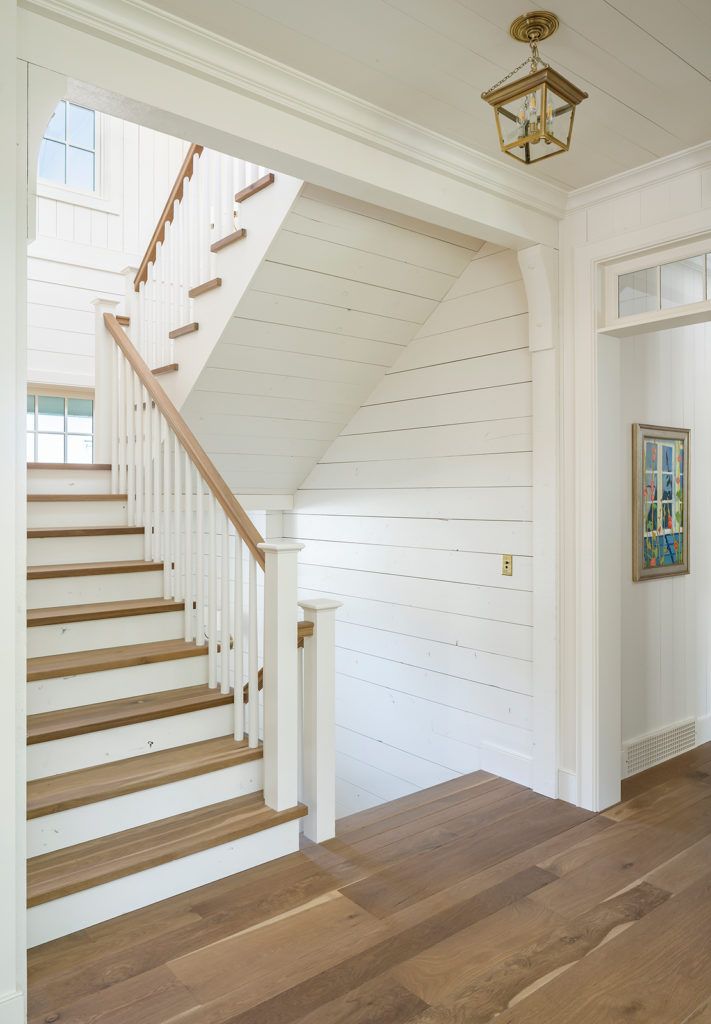 stairwell, exposed oak handrail, Bodell's, horizontal wood plank walls