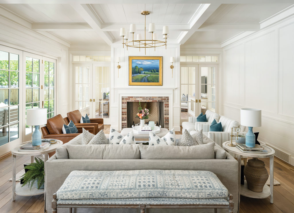 living room, Bradford Houston, painted beamed ceiling, vertical poplar planks, poplar beadboard, Christie Lewis interior design, mixed fabrics, blue-gray color palette, Seth Winergar