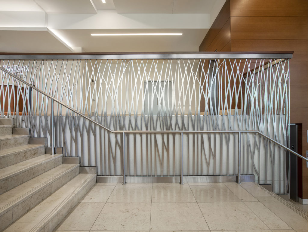 Metal and glass partition stairway at the Key Bank Tower in the City Creek Complex