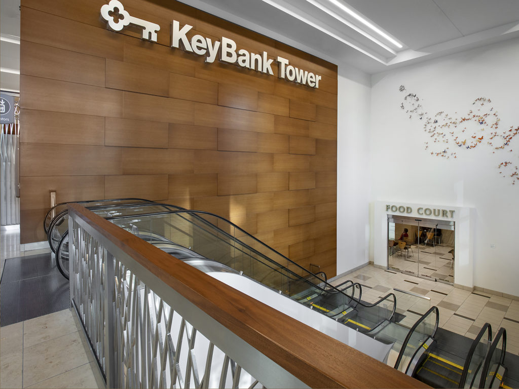 Escalator entrance to Key Bank Tower in the City Creek complex