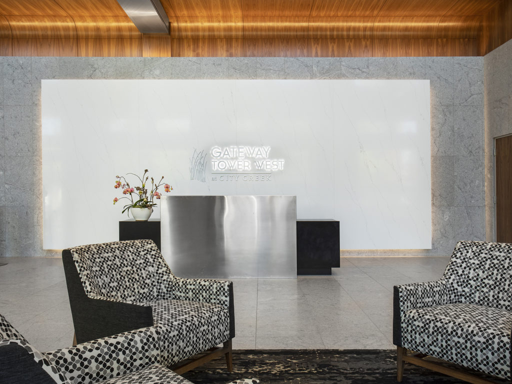 Lobby and steel security desk in Gateway Tower West at City Creek