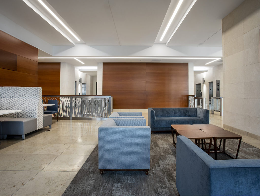 Lobby with seating area and fireplace in Key Bank Tower