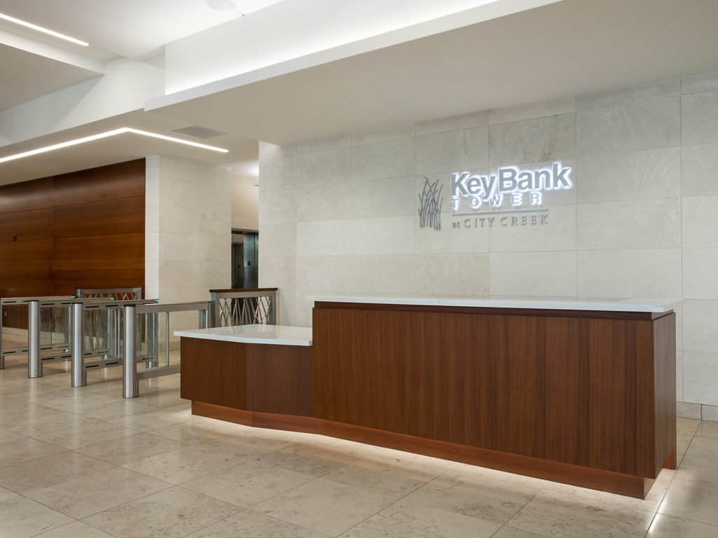Walnut and stone security desk at Key Bank Tower